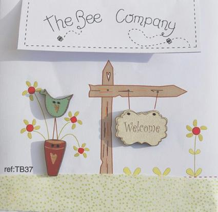 click here to view larger image of Welcome Sign and Bird Buttons (buttons)