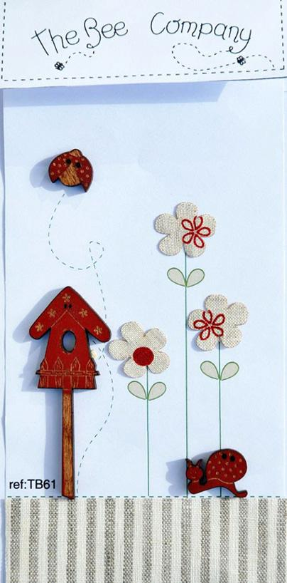 click here to view larger image of Birdhouse and Snails Buttons (buttons)