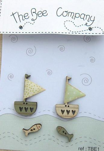 click here to view larger image of Two Boats and Fish Buttons (buttons)