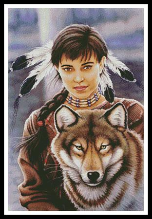 click here to view larger image of Native American Maiden and Wolf  (Howard Robinson) (chart)