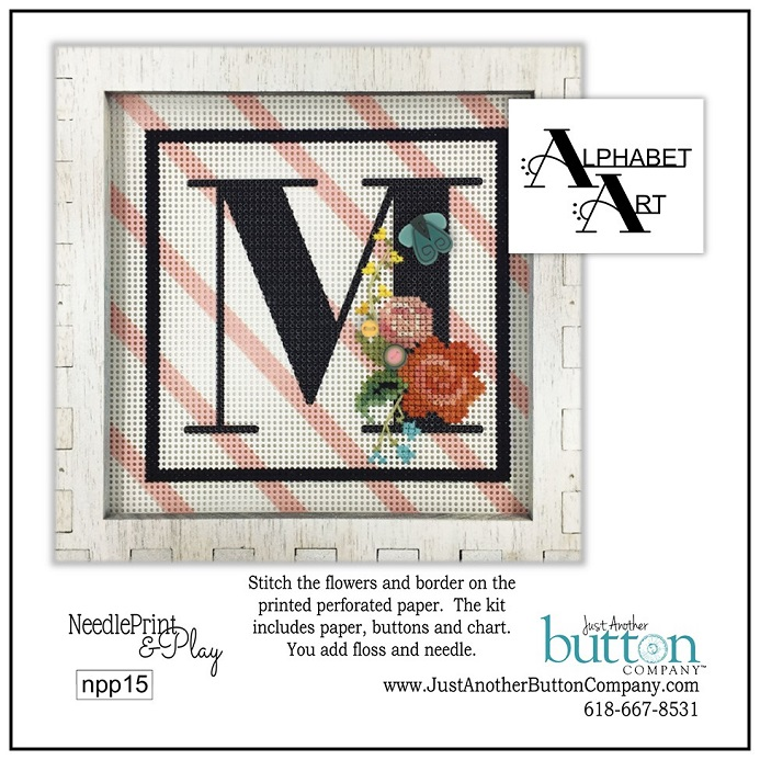 click here to view larger image of Alphabet M (counted cross stitch kit)