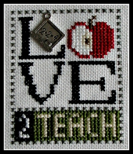 click here to view larger image of Love Bits - Love 2 Teach (chart with charms/buttons)