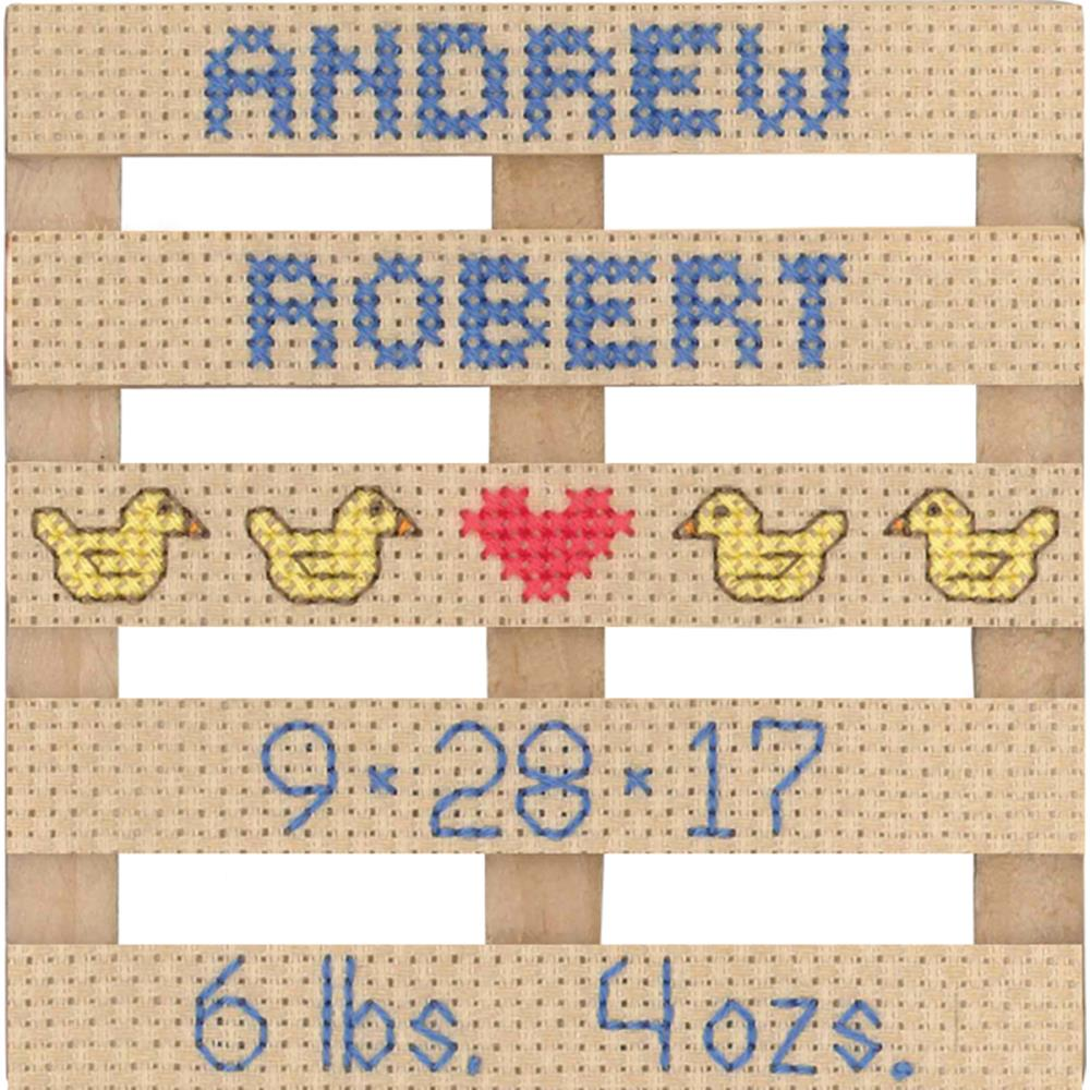 click here to view larger image of Wood Pallet Birth Announcement (counted cross stitch kit)