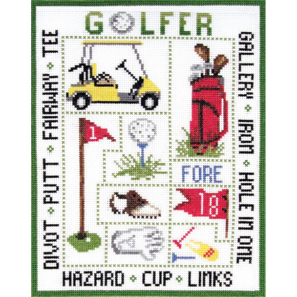 click here to view larger image of Golfer Sampler (counted cross stitch kit)