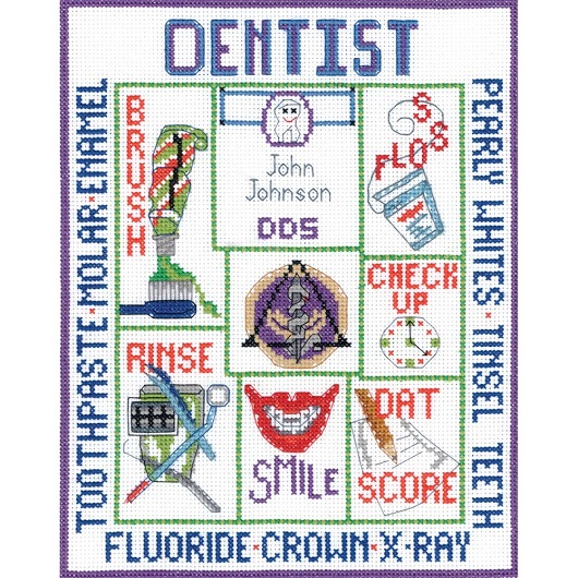 click here to view larger image of Dentist Sampler (counted cross stitch kit)