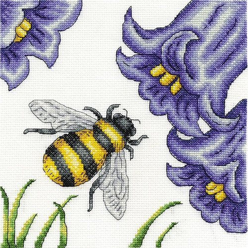 click here to view larger image of Bee and  Bluebells (counted cross stitch kit)