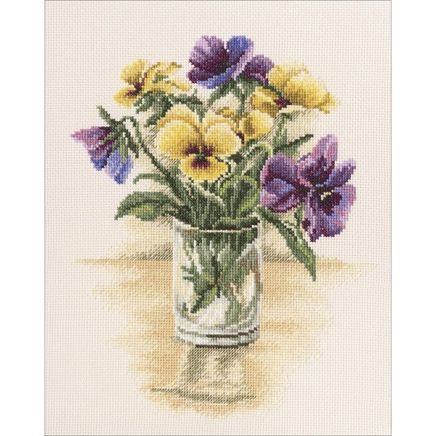 click here to view larger image of Vintage Violets (counted cross stitch kit)