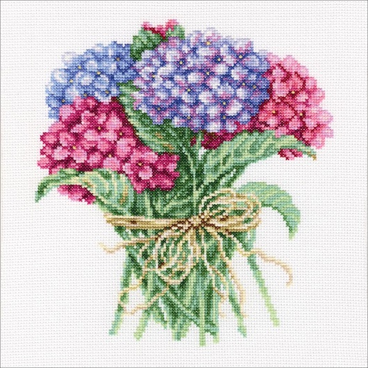 click here to view larger image of Hydrangea Bouquet (counted cross stitch kit)