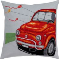 click here to view larger image of Red Fiat Pillow (counted cross stitch kit)