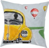 click here to view larger image of Yellow VW Bug Pillow (counted cross stitch kit)