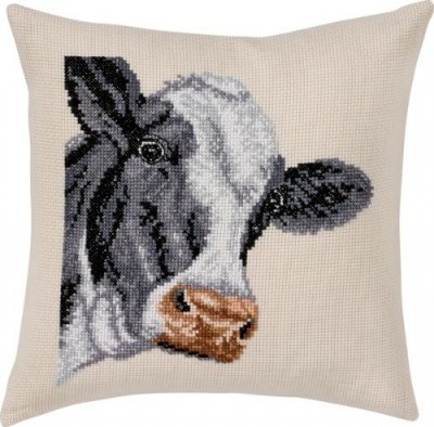 click here to view larger image of Cow Pillow (counted cross stitch kit)