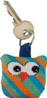 click here to view larger image of Owl Keyring - Diagonal Stripes (counted cross stitch kit)