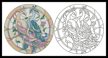 click here to view larger image of Peacock Couple Stained Glass Window (chart)