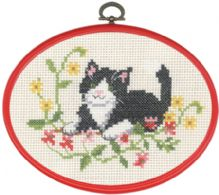 Black Cat In Flowers - click here for more details about counted cross stitch kit