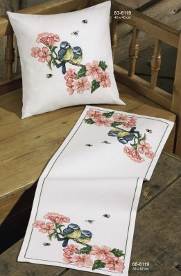 Flowers / Tits Table Runner (Lower) - click here for more details about counted cross stitch kit