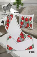 Red Tulips Table Cloth (Lower) - click here for more details about counted cross stitch kit