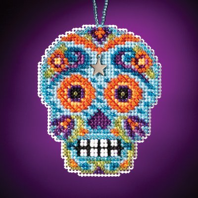 click here to view larger image of Azul - Calavera Charmed Ornament (counted cross stitch kit)