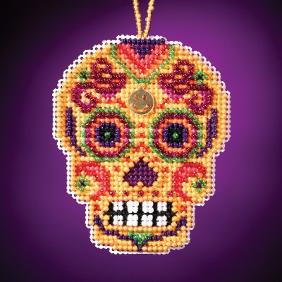 click here to view larger image of Amarillo - Calavera Charmed Ornament (counted cross stitch kit)