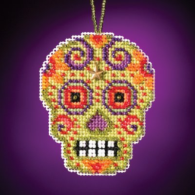click here to view larger image of Verde - Calavera Charmed Ornament (counted cross stitch kit)