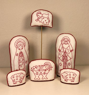 click here to view larger image of Alaska Redwork Nativity - 6 Piece Set (Redwork)