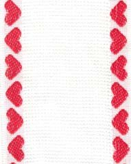 click here to view larger image of White With Red Heart Border Cotton Banding - 14ct (Banding)