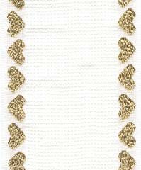 click here to view larger image of White With Metallic Gold Heart Border Cotton Banding - 14ct (Banding)