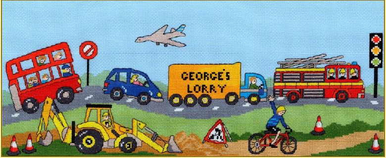 click here to view larger image of Wheely Fun (counted cross stitch kit)