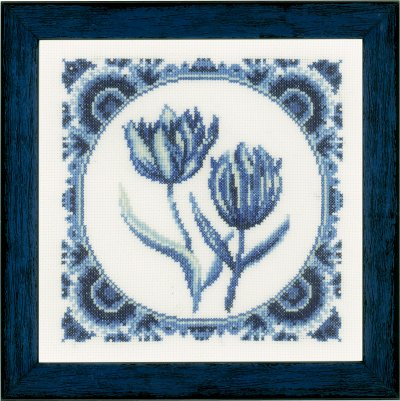 click here to view larger image of Delft Tulips (counted cross stitch kit)
