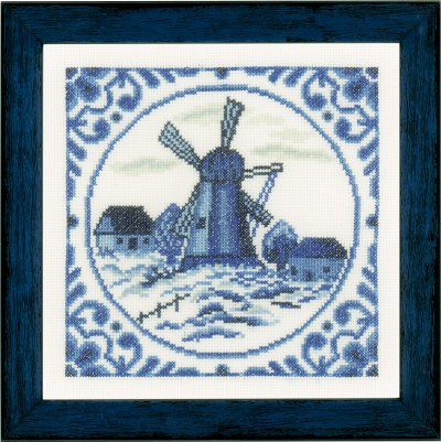 click here to view larger image of Delft Windmill (counted cross stitch kit)