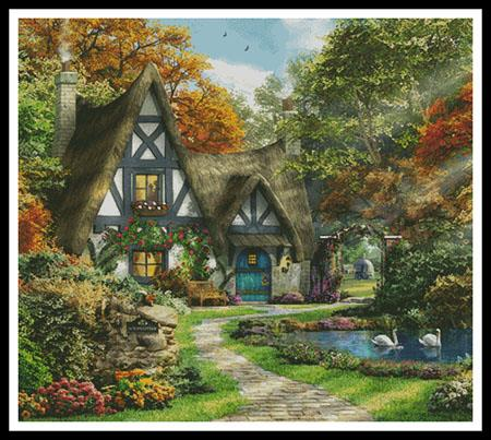 click here to view larger image of Autumn Cottage, The - Cushion (chart)