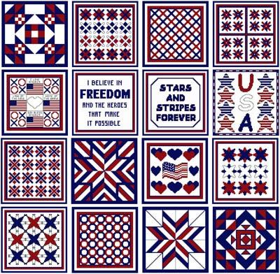 click here to view larger image of Needle Block Wonders 01 - Patriotic (chart)
