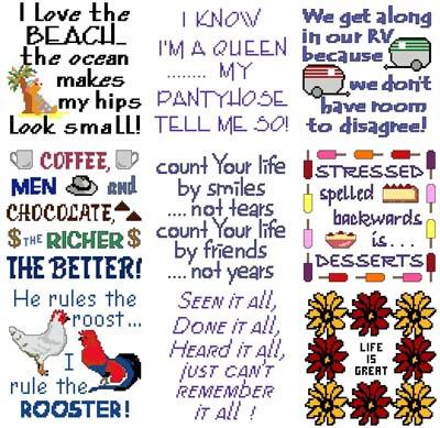 click here to view larger image of Needle Block Wonders 12 - Sayings (chart)