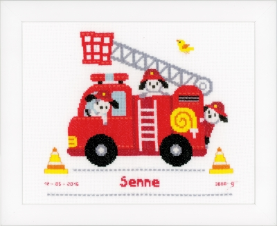click here to view larger image of Fire Truck Birth Announcement (counted cross stitch kit)