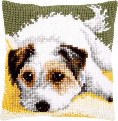 click here to view larger image of Dog Wagging Its Tail Cushion (needlepoint)