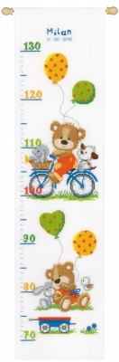 click here to view larger image of Playful Bear Height Chart (counted cross stitch kit)