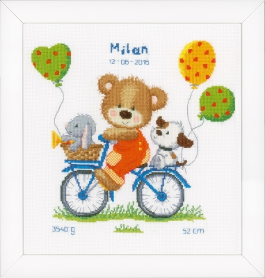 click here to view larger image of Cycling Bear Birth Announcement (counted cross stitch kit)