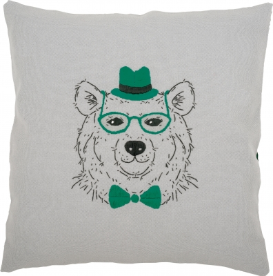 click here to view larger image of Bear With Orange Glasses Hat and Bowtie Cushion (counted cross stitch kit)
