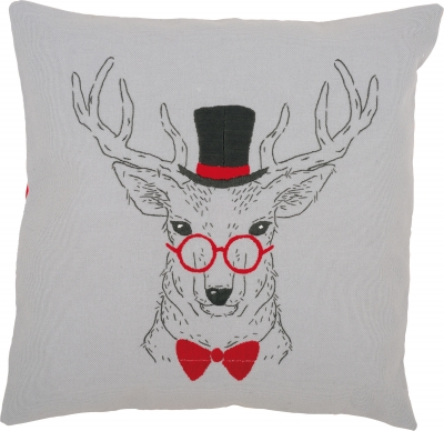 click here to view larger image of Deer With Red Glasses and Bowtie Cushion (counted cross stitch kit)