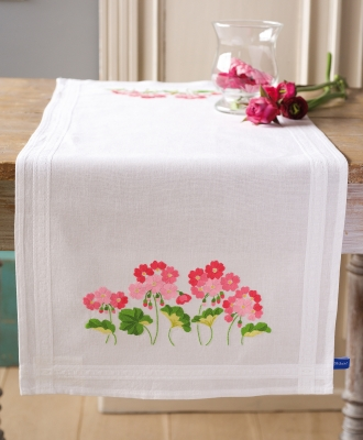 click here to view larger image of Geraniums Runner (counted cross stitch kit)