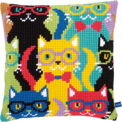 click here to view larger image of Funny Cats Cushion (needlepoint)