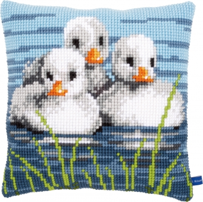 click here to view larger image of Duckling In Water Cushion (needlepoint)