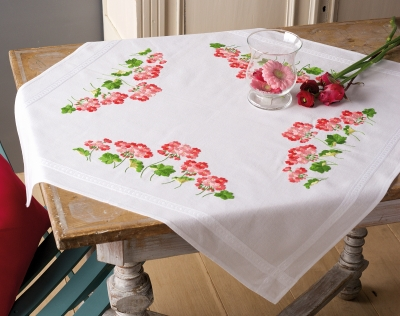 click here to view larger image of Geraniums Tablecloth (stamped cross stitch kit)
