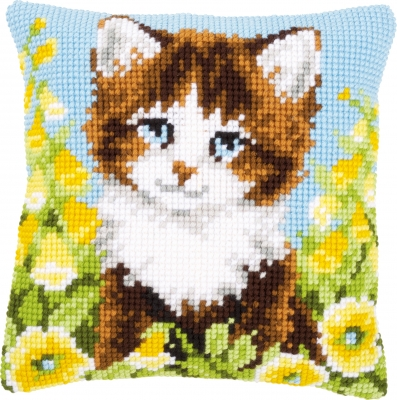 click here to view larger image of Cat and Yellow Flower Cushion (needlepoint)