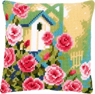 click here to view larger image of Birdhouses and Roses Cushion (needlepoint)
