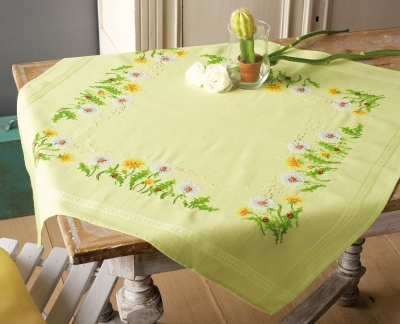 click here to view larger image of Dandelions Tablecloth (counted cross stitch kit)