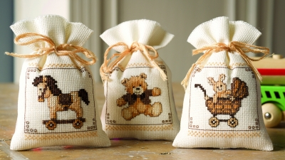 click here to view larger image of Toys (Set of 3 bags) (counted cross stitch kit)