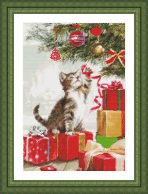 click here to view larger image of Kitten With Ribbon (chart with charms/buttons)