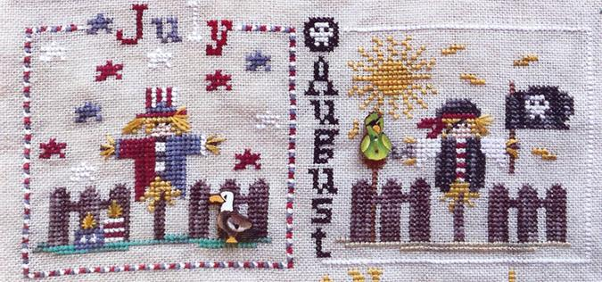 Year With The Scarecrows, A - July and August - click here for more details about chart with charms/buttons