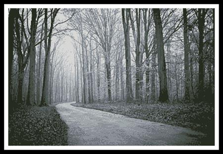 click here to view larger image of Black and White Road Through Trees (chart)