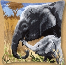 click here to view larger image of Elephant Love Pillow (counted cross stitch kit)